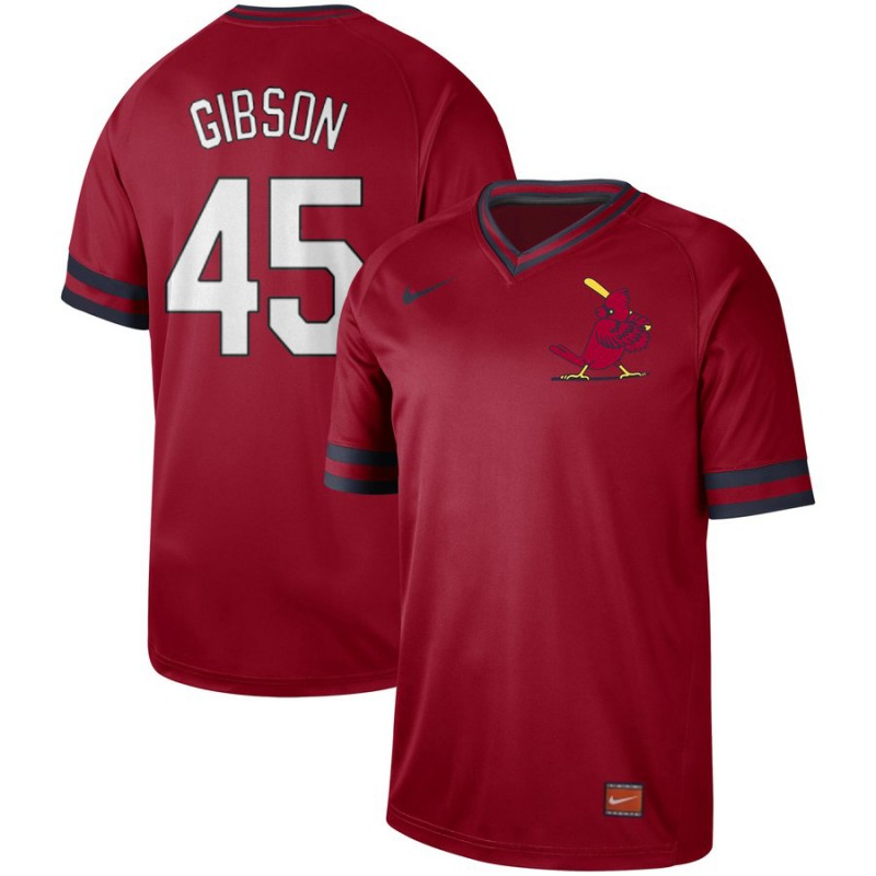 Men's St. Louis Cardinals #45 Bob Gibson Red Cooperstown Collection Legend Stitched MLB Jersey