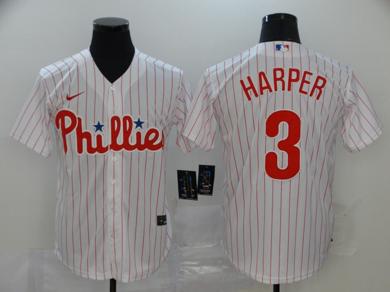 Men's Philadelphia Phillies #3 Bryce Harper White Cool Base Stitched MLB Jersey