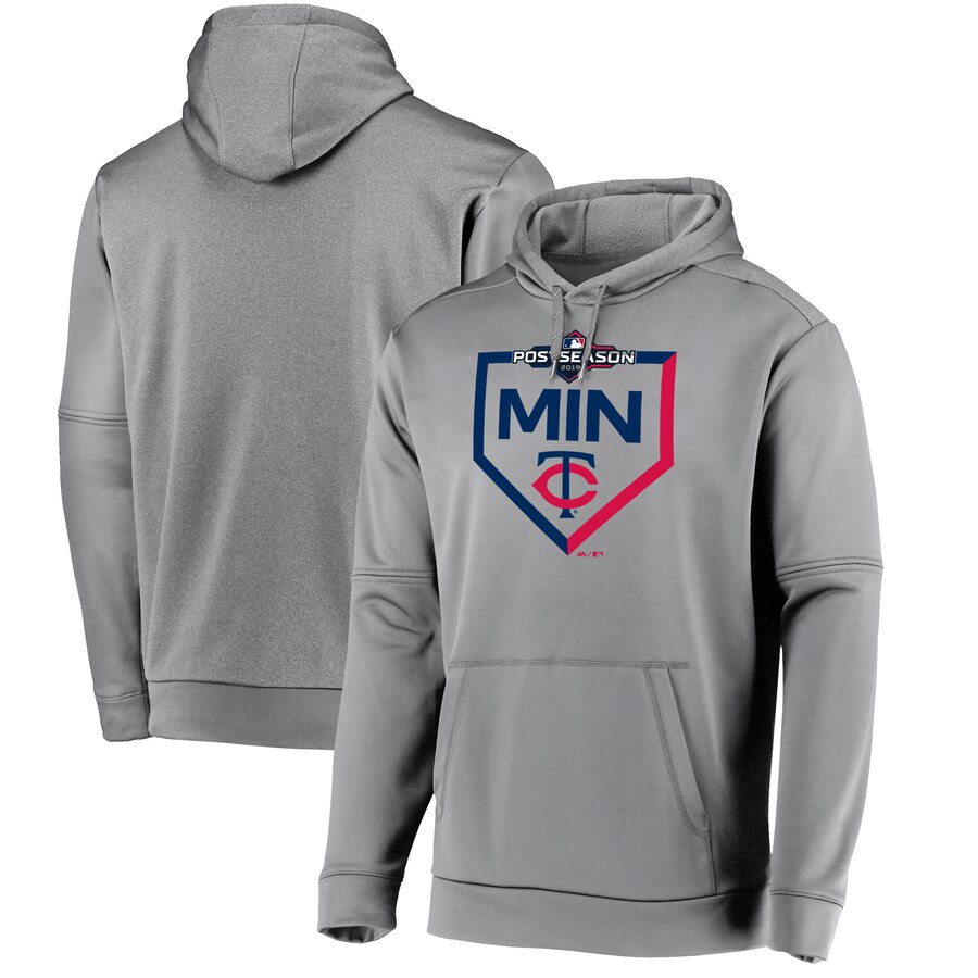 Men's Minnesota Twins Majestic Grey 2019 Postseason Dugout Pullover Hoodie