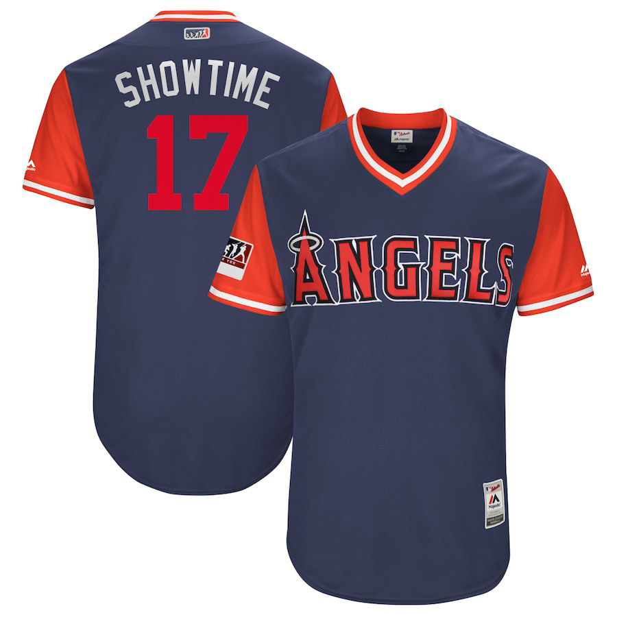 "Men's Los Angeles Angels #17 Shohei Ohtani ""Showtime"" Majestic Navy/Red 2018 Players' Weekend Authentic Stitched MLB Jersey"