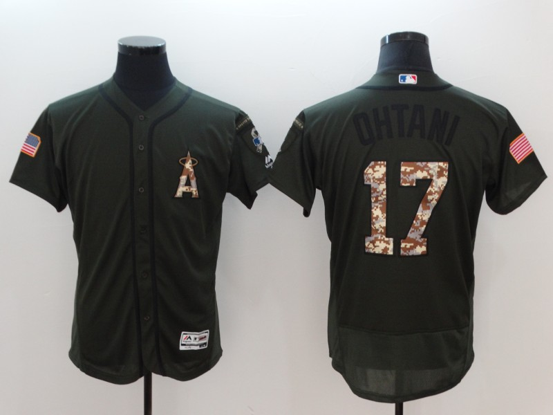 Men's MLB Los Angeles Angels #17 Shohei Ohtani Olive Green Flexbase Jersey