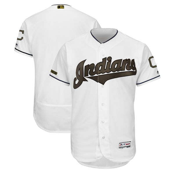 Men's Cleveland Indians Blank White 2018 Memorial Day Flexbase Stitched MLB Jersey