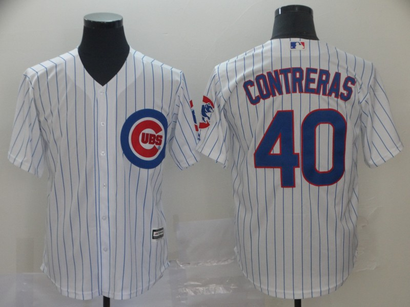 Men's Chicago Cubs #40 Willson Contreras Gray Cool Base Stitched MLB Jersey