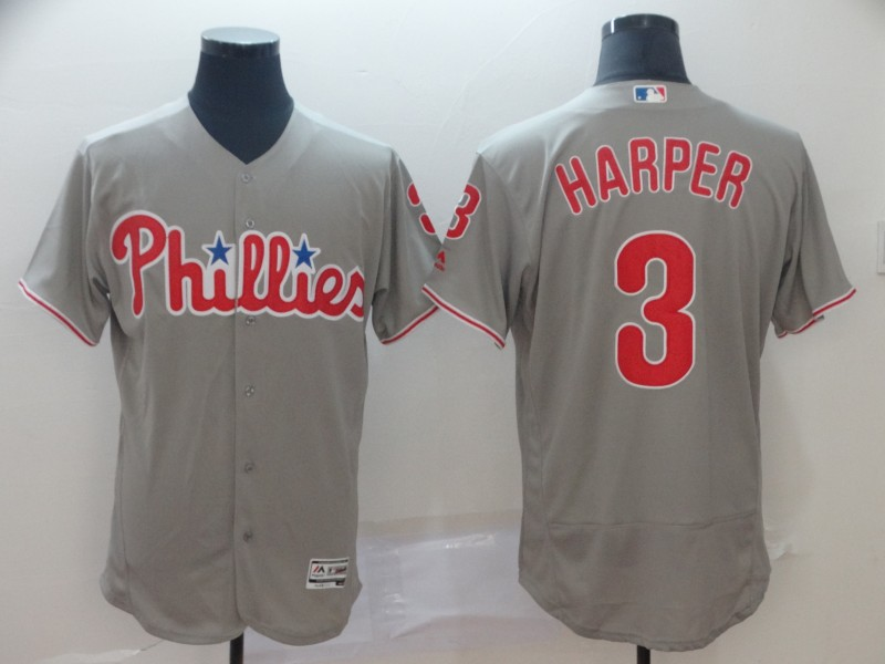 Men's Philadelphia Phillies #3 Bryce Harper Grey Flex Base Stitched MLB Jersey