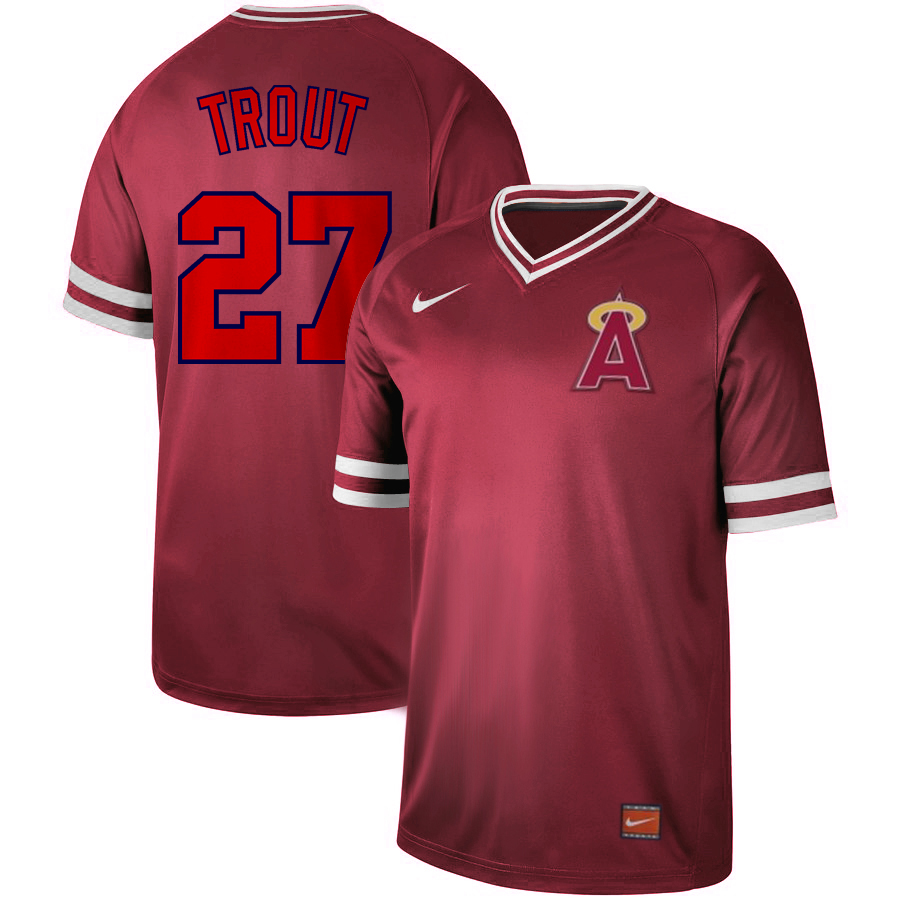 Men's Los Angeles Angels #27 Mike Trout Red Cooperstown Collection Legend Stitched MLB Jersey
