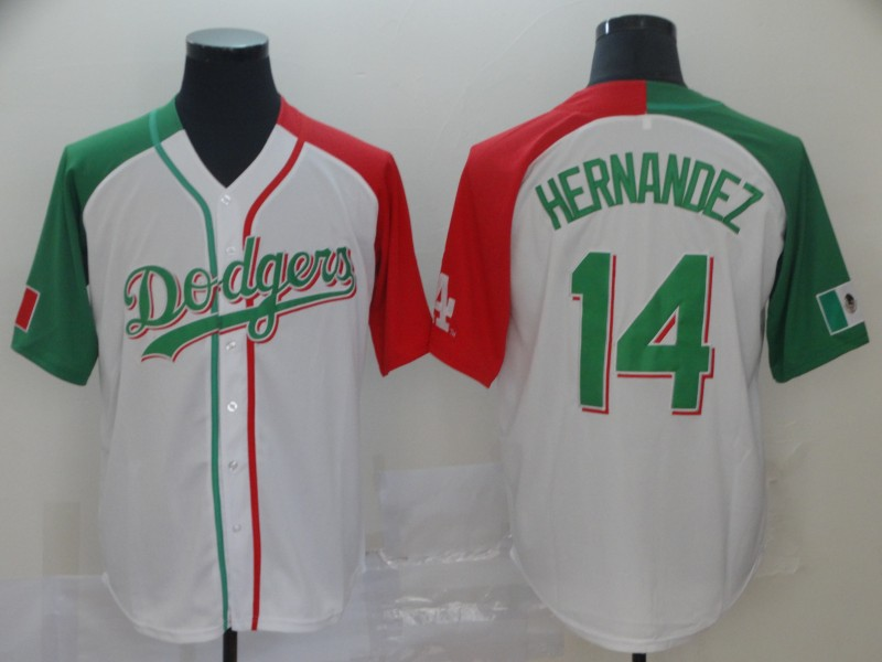 Men's Los Angeles Dodgers #14 Kiké Hernández Mexican Heritage Culture Night MLB Jersey