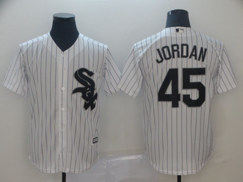 Men's Chicago White Sox #45 Michael Jordan White Cool Base Stitched MLB Jersey