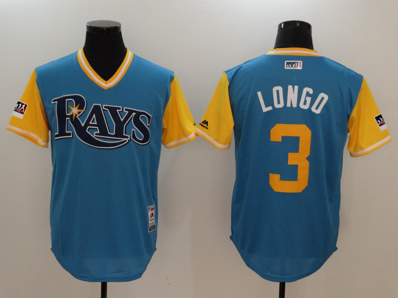 "Men's Tampa Bay Rays #3 Evan Longoria ""Longo"" Majestic Royal/Light Yellow 2018 Players' Weekend Team Stitched MLB Jersey"