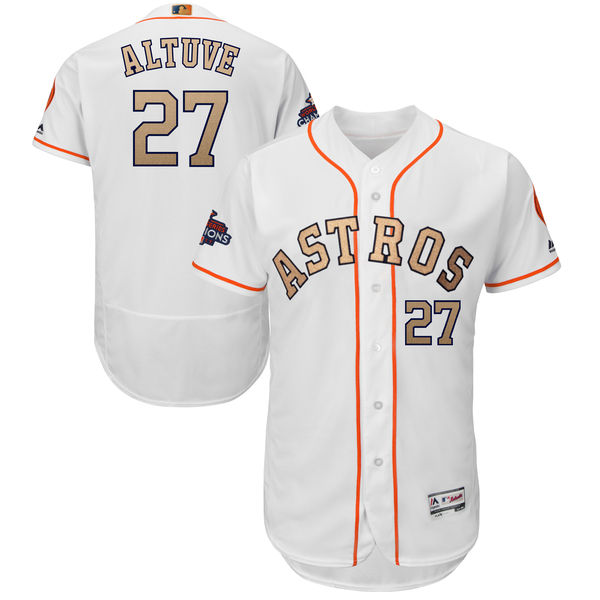Men's Houston Astros #27 Jose Altuve Majestic White 2018 Gold Program Flex Base Player Stitched MLB Jersey