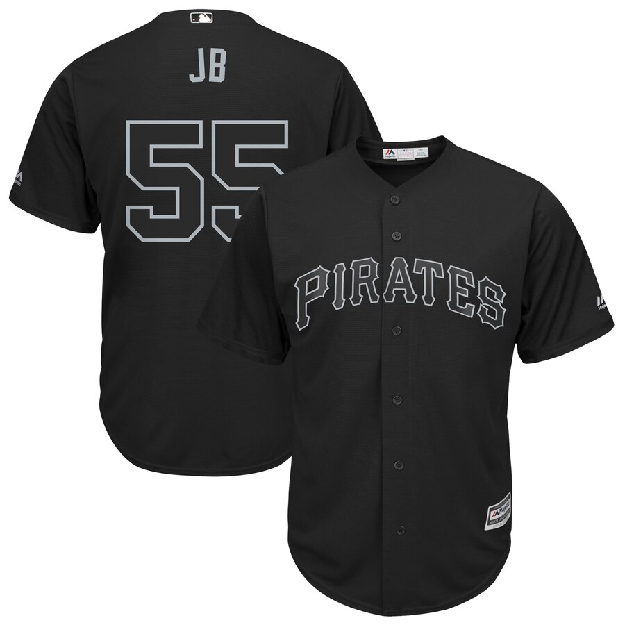 "Men's Pittsburgh Pirates #55 Josh Bell ""JB"" Majestic Black 2019 Players' Weekend Replica Player Stitched MLB Jersey"