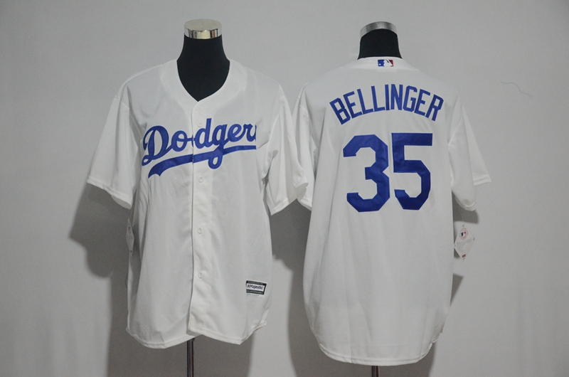 Men's Los Angeles Dodgers #35 Cody Bellinger Majestic White Cool Base Stitched MLB Jersey