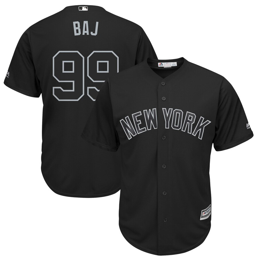 "Men's New York Yankees #99 Aaron Judge ""BAJ"" Majestic Black 2019 Players' Weekend Replica Player Stitched MLB Jersey"