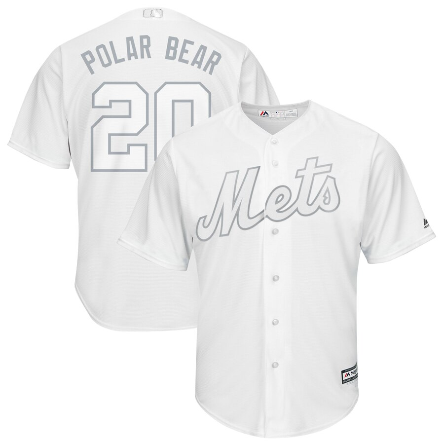 "Men's New York Mets Pete Alonso ""Polar Bear"" Majestic White 2019 Players' Weekend Player Stitched MLB Jersey"