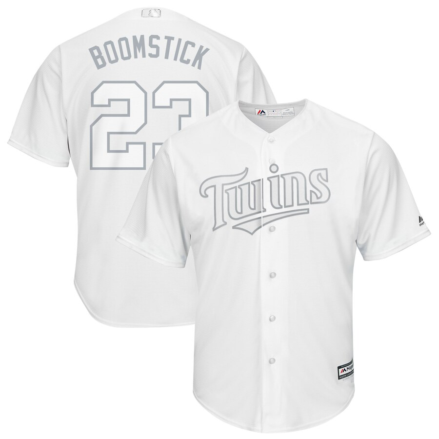 "Men's Minnesota Twins #23 Nelson Cruz ""Boomstick"" Majestic White 2019 Players' Weekend Replica Player Stitched MLB Jersey"