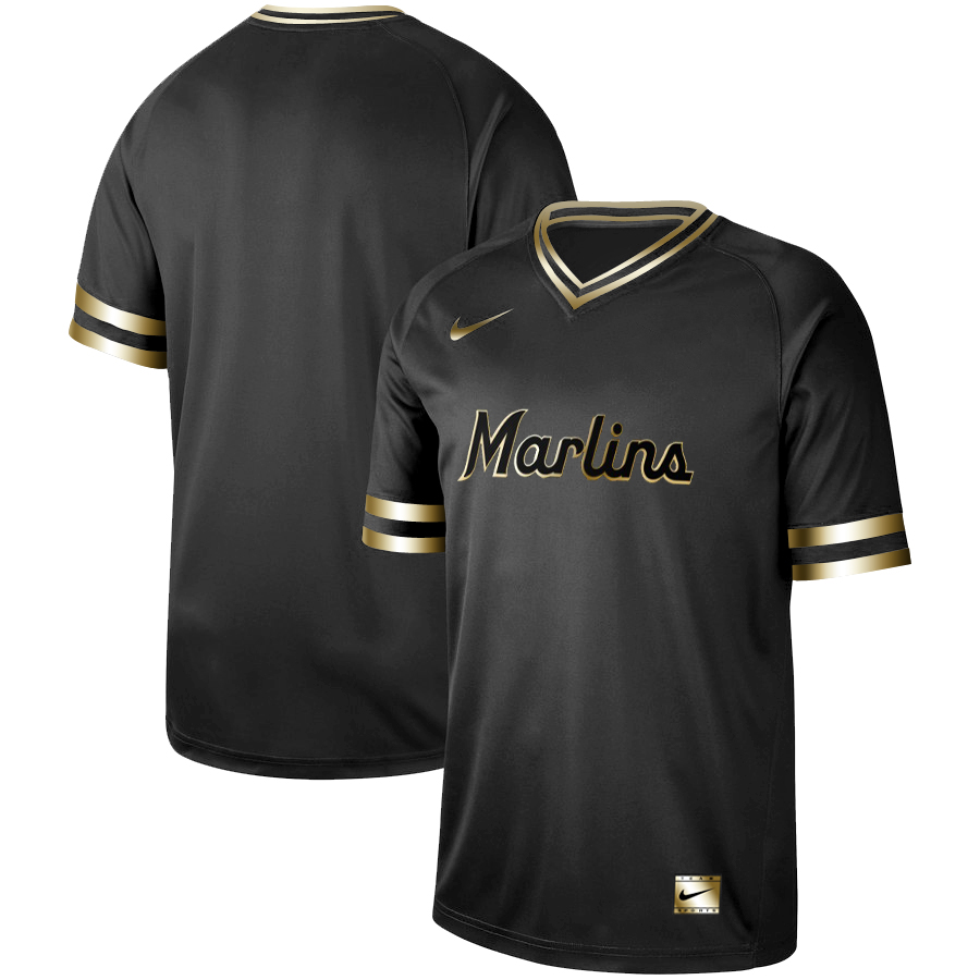 989369bb Men's Miami Marlins Black Gold Stitched MLB Jersey