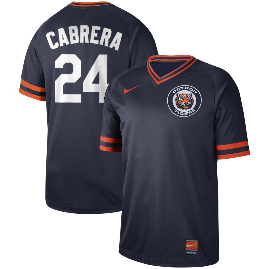 Men's Detroit Tigers #24 Miguel Cabrera Navy Cooperstown Collection Legend Stitched MLB Jersey