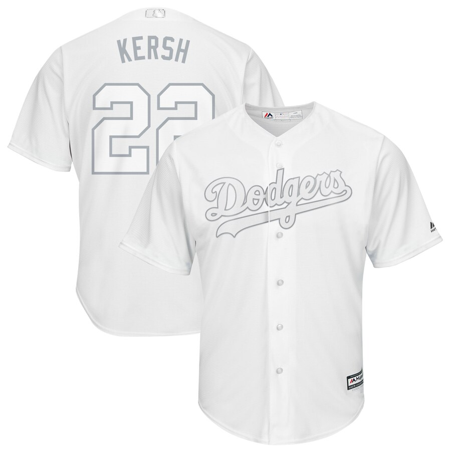 Men's Los Angeles Dodgers #22 Clayton Kershaw Majestic White 2019 Players' Weekend Replica Player Stitched MLB Jersey