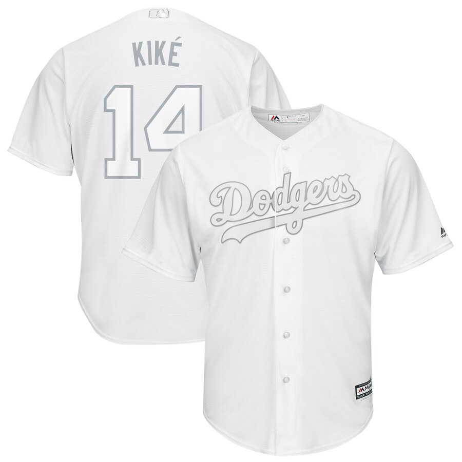 Men's Los Angeles Dodgers #14 Kiké Hernández Majestic White 2019 Players' Weekend Replica Player Stitched MLB Jersey
