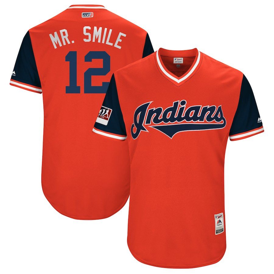 "Men's Cleveland Indians #12 Francisco Lindor ""Mr. Smile"" Majestic Red/Navy 2018 Players' Weekend Stitched MLB Jersey"