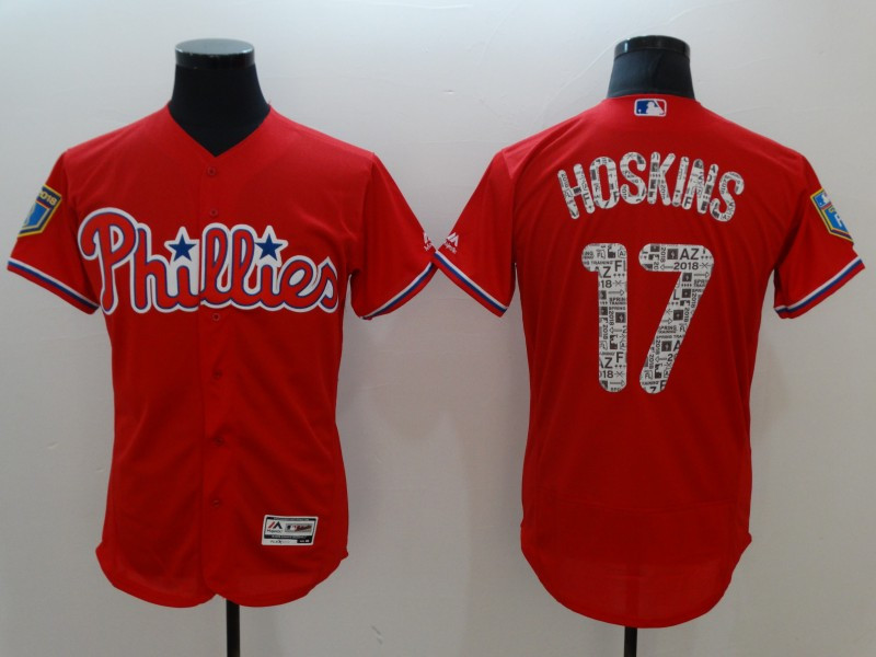 Men's Philadelphia Phillies #17 Rhys Hoskins Red 2018 Spring Training Flexbase Stitched MLB Jersey