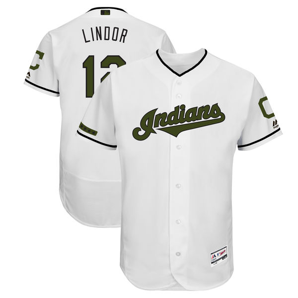 Men's Cleveland Indians #12 Francisco Lindor White 2018 Memorial Day Flexbase Stitched MLB Jersey