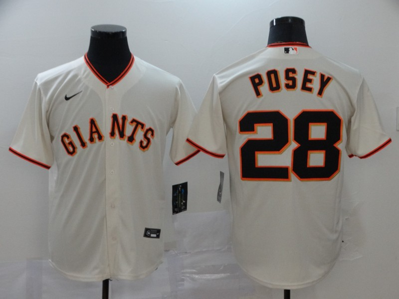 Men's San Francisco Giants #28 Buster Posey White Cool Base Stitched MLB Jersey