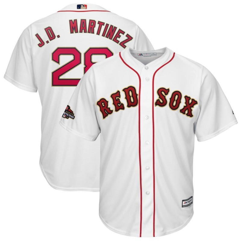 5f29fc3ab Men s Boston Red Sox  28 J.D. Martinez Majestic White 2019 Gold Program  Cool Base Stitched
