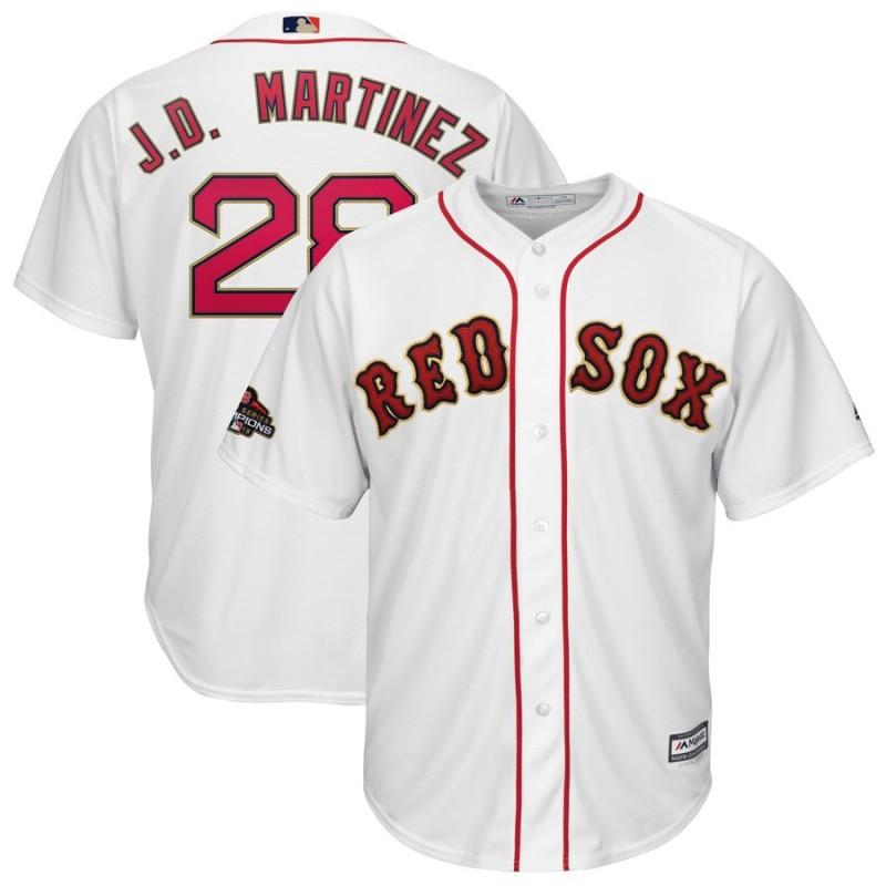 1394be532b7 Men s Boston Red Sox  28 J.D. Martinez Majestic White 2019 Gold Program  Cool Base Stitched