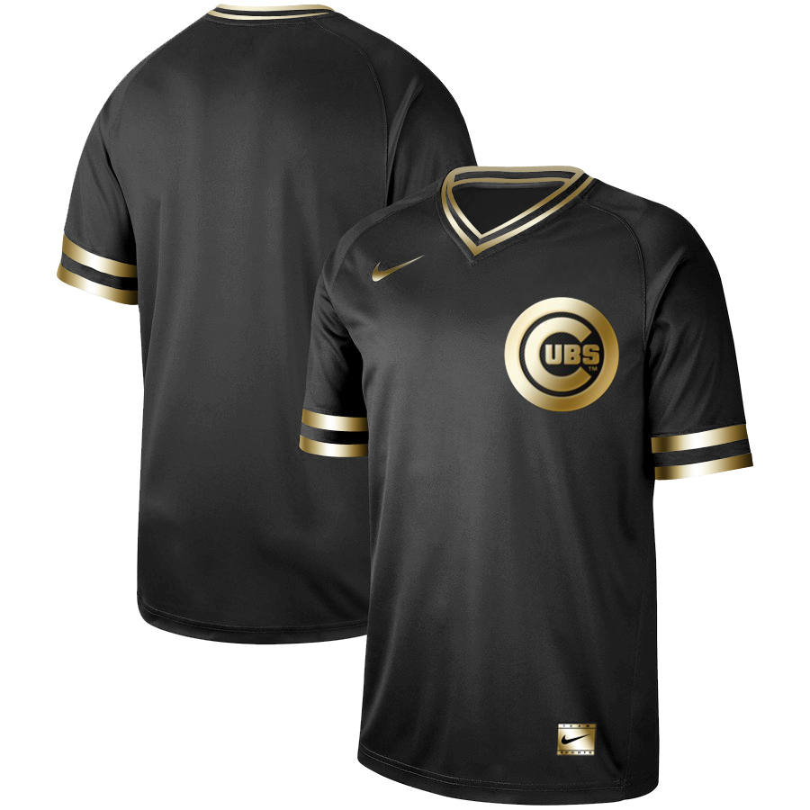 Men's Chicago Cubs Black Gold Stitched MLB Jersey