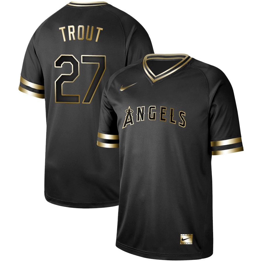 Men's Los Angeles Angels #27 Mike Trout Black Gold Stitched MLB Jersey