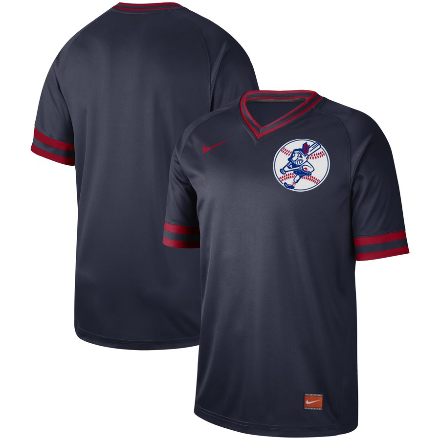 Men's Cleveland Indians Blank Navy Cooperstown Collection Legend Stitched MLB Jersey