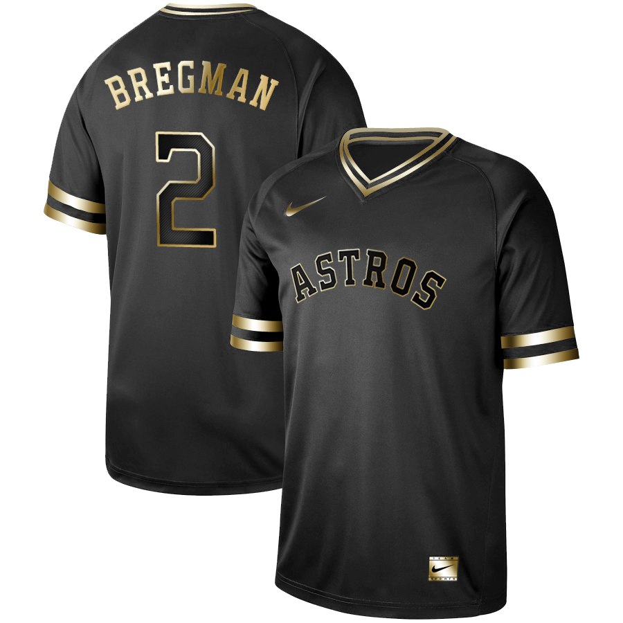 Men's Houston Astros #2 Alex Bregman Black Gold Stitched MLB Jersey