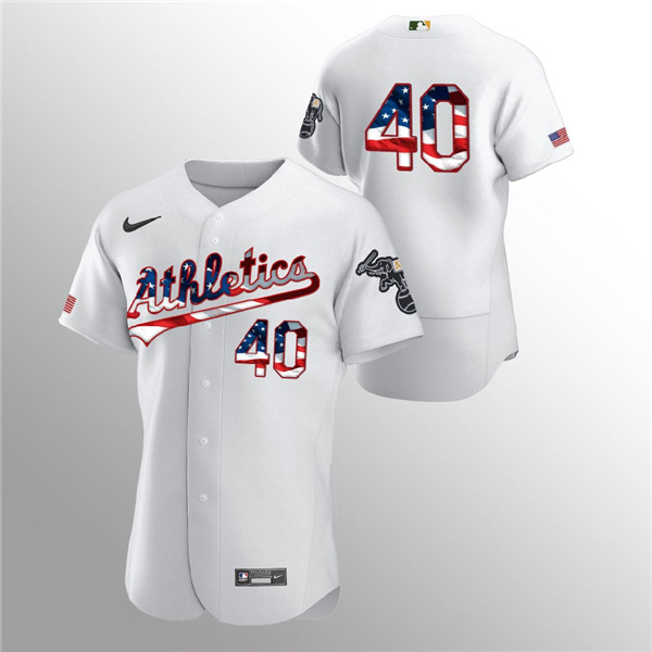 Men's Oakland Athletics #40 Chris Bassitt White 2020 Stars & Stripes Flex Base Stitched Jersey