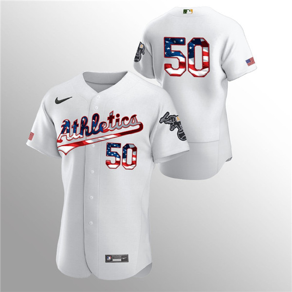 Men's Oakland Athletics #50 Mike Fiers White 2020 Stars & Stripes Flex Base Stitched Jersey