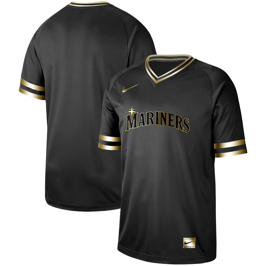 Men's Seattle Mariners Blank Black Gold Stitched MLB Jersey