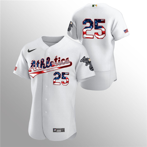 Men's Oakland Athletics #25 Stephen Piscotty White 2020 Stars & Stripes Flex Base Stitched Jersey