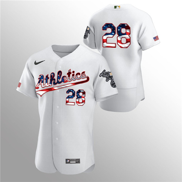 Men's Oakland Athletics #28 Matt Olson White 2020 Stars & Stripes Flex Base Stitched Jersey