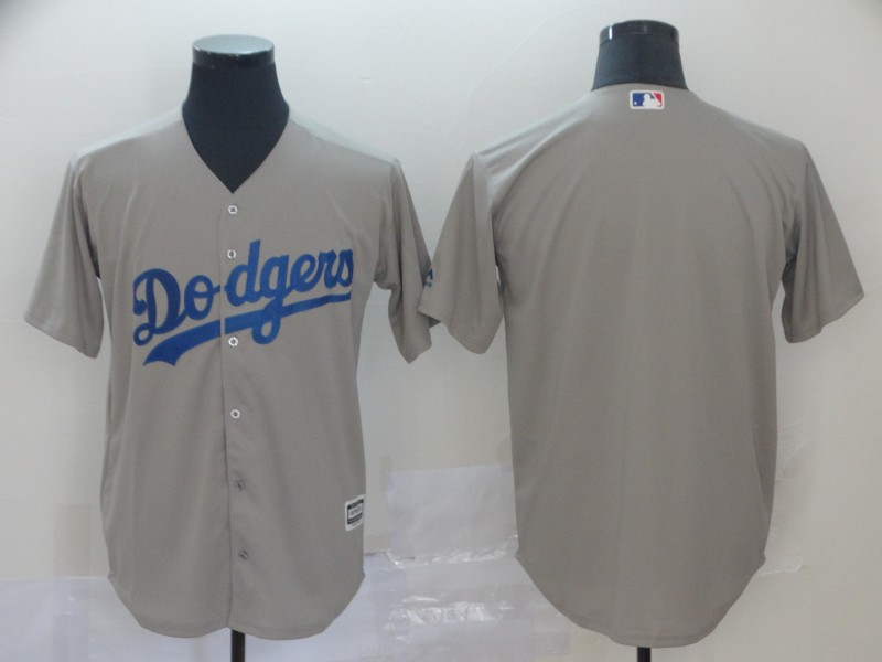Men's Los Angeles Dodgers Gray Blank Cool Base Stitched MLB Jersey
