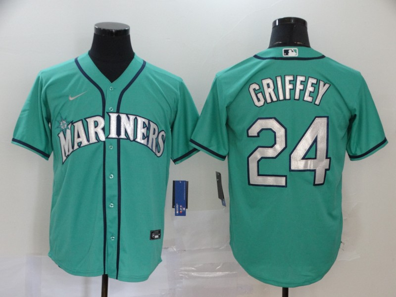 Men's Seattle Mariners #24 Ken Griffey Aqua Cool Base Stitched MLB Jersey