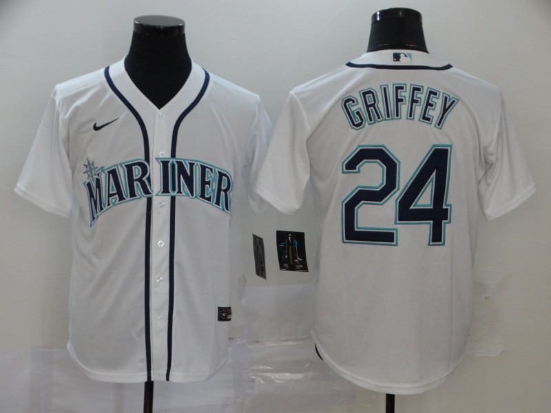 Men's Seattle Mariners #24 Ken Griffey White Cool Base Stitched MLB Jersey