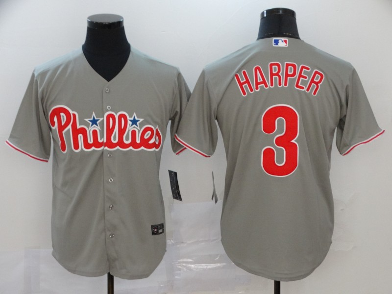 Men's Philadelphia Phillies #3 Bryce Harper Grey Cool Base Stitched MLB Jersey