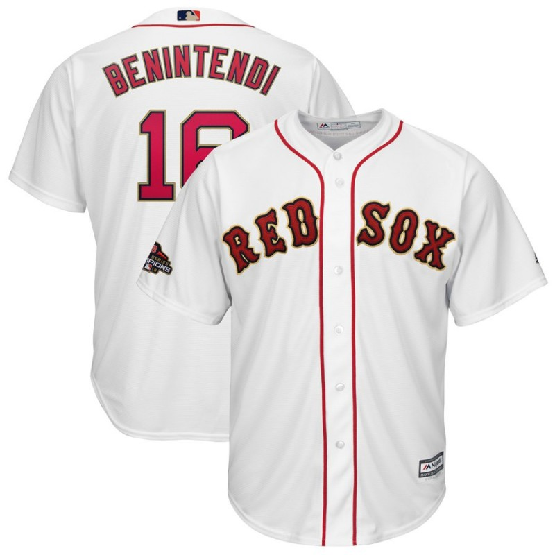 Men's Boston Red Sox #16 Andrew Benintendi Majestic White 2019 Gold Program Cool Base Stitched MLB Jersey