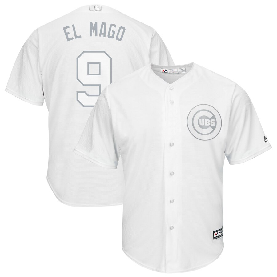 "Men's Chicago Cubs #9 Javier Baez ""El Mago"" Majestic White 2019 Players' Weekend Replica Player Stitched MLB Jersey"