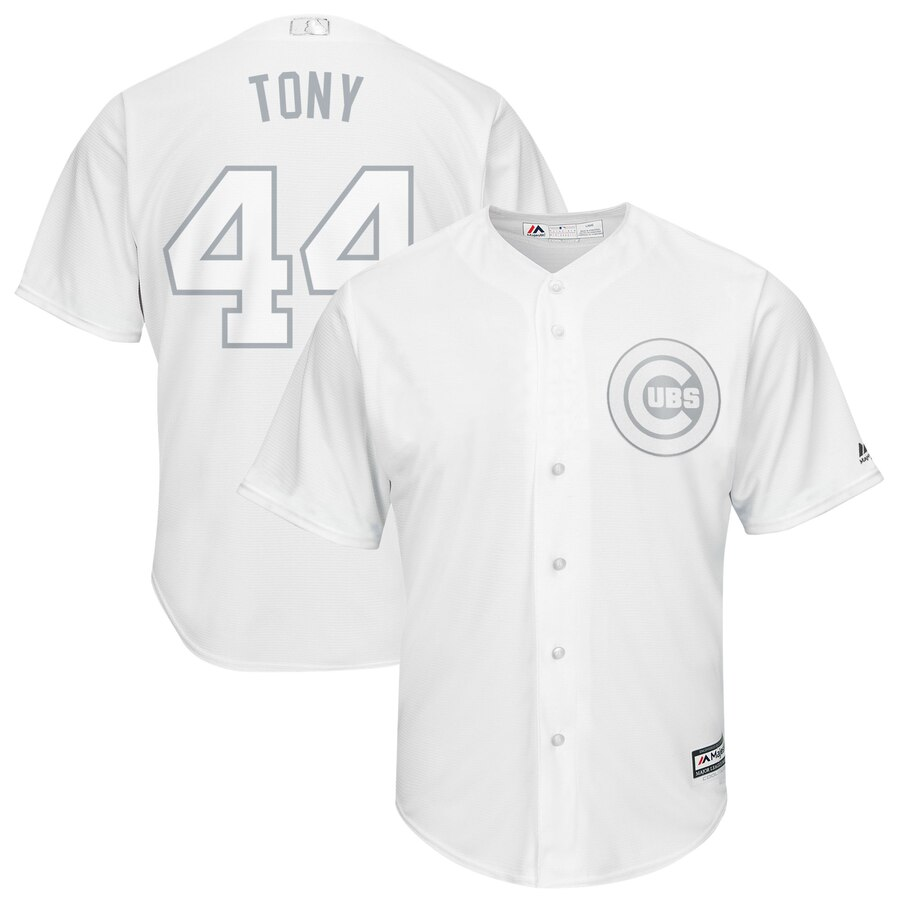 "Men's Chicago Cubs #44 Anthony Rizzo ""Tony"" Majestic White 2019 Players' Weekend Replica Player Stitched MLB Jersey"