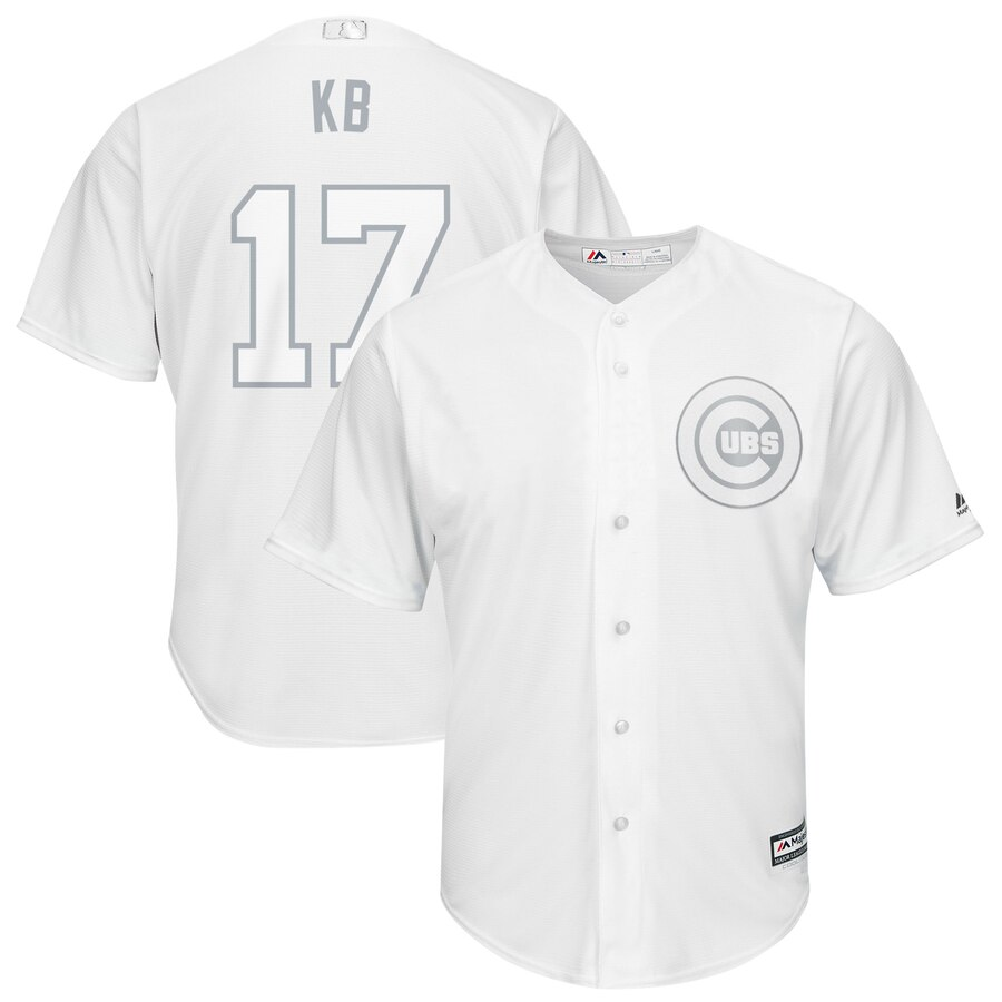 "Men's Chicago Cubs #17 Kris Bryant ""KB"" Majestic White 2019 Players' Weekend Authentic Player Stitched MLB Jersey"