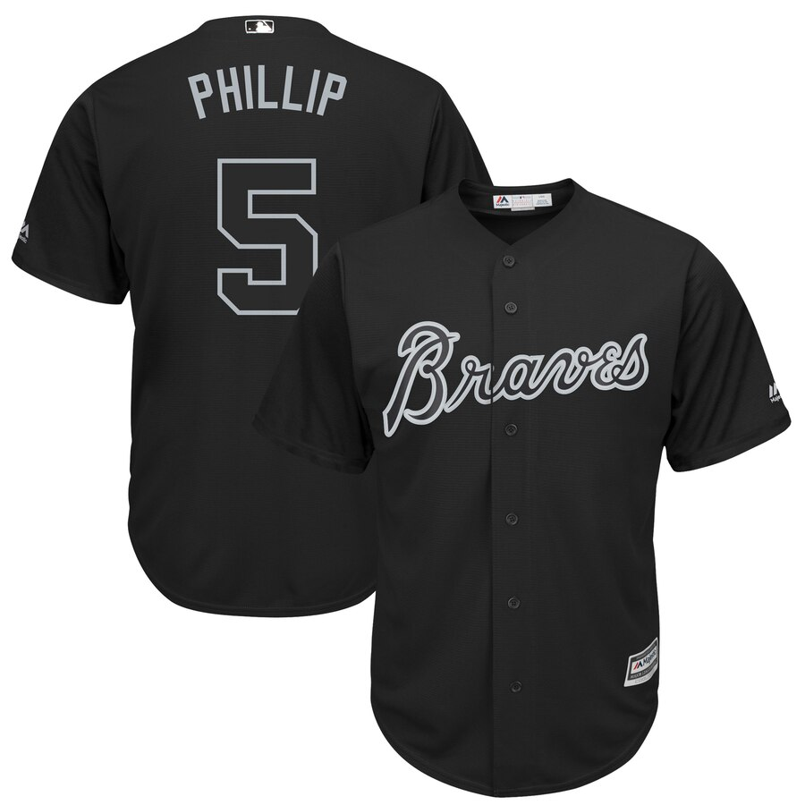 "Men's Atlanta Braves #5 Freddie Freeman ""Phillip"" Majestic Black 2019 Players' Weekend Replica Player Stitched MLB Jersey"