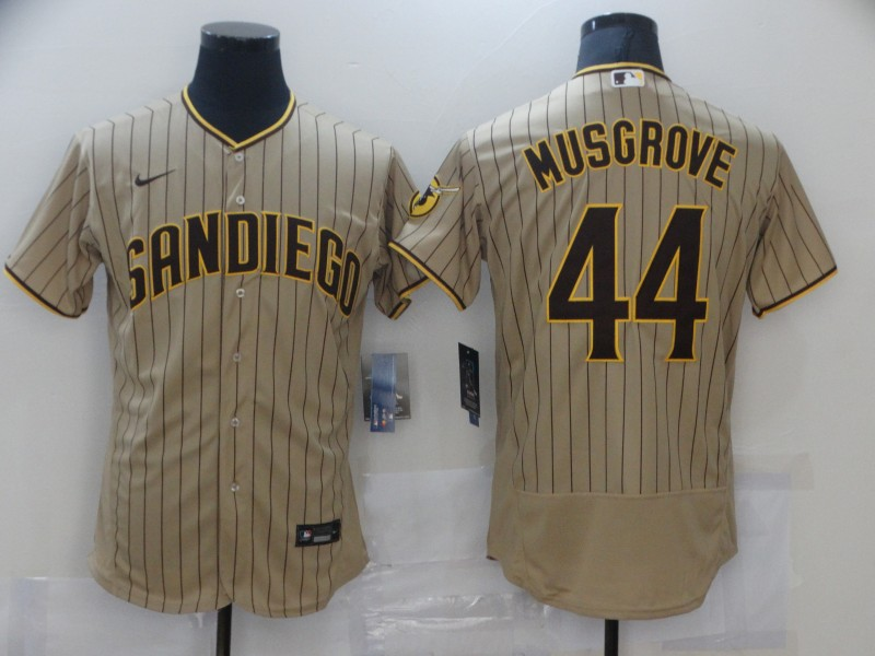 Men's San Diego Padres #44 Joe Musgrove Tan Brown Flex Base Stitched MLB Jersey