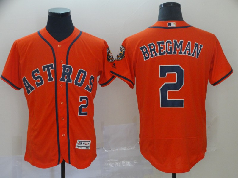 Men's Houston Astros #2 Alex Bregman Orange Flex Base Stitched MLB Jersey