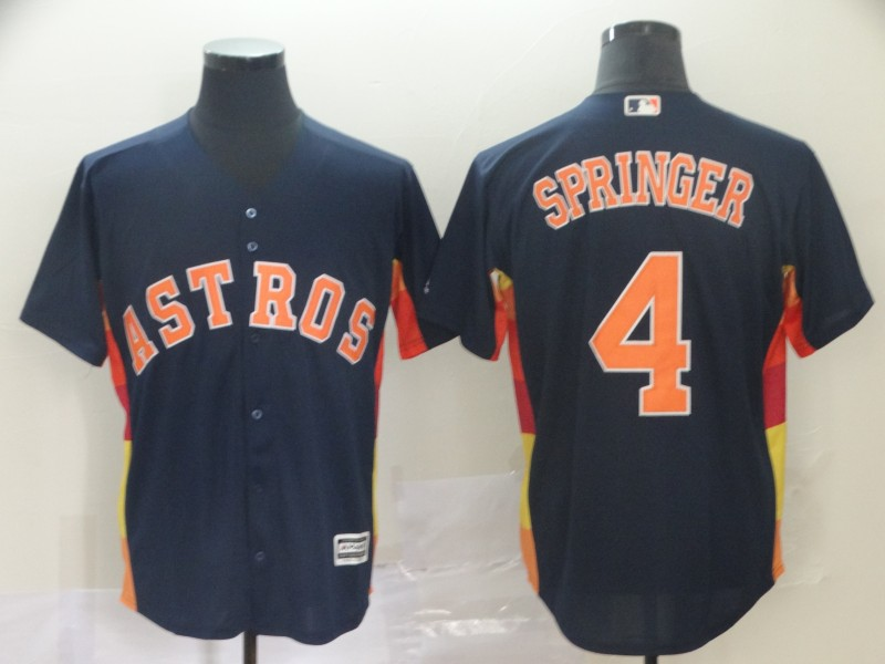 Men's Houston Astros #4 George Springer Navy Cool Base Stitched MLB Jersey