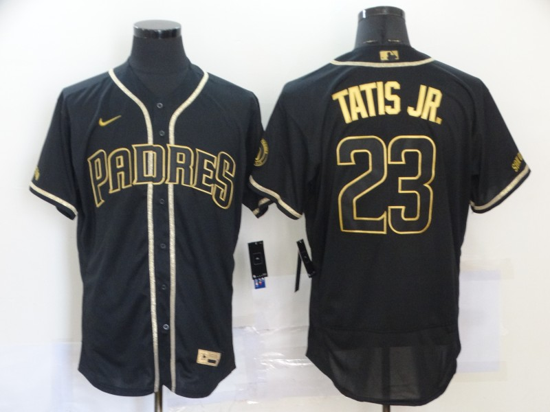 Men's San Diego Padres #23 Fernando Tatis Jr. 2020 Black Golden Flex Base Stitched MLB Jersey
